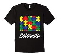 Autism Awareness Day Colorado Puzzle Pieces Gift Shirts Black
