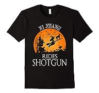Jonangi Rides Shotgun Dog Lover Halloween Party Gift T-shirt Black