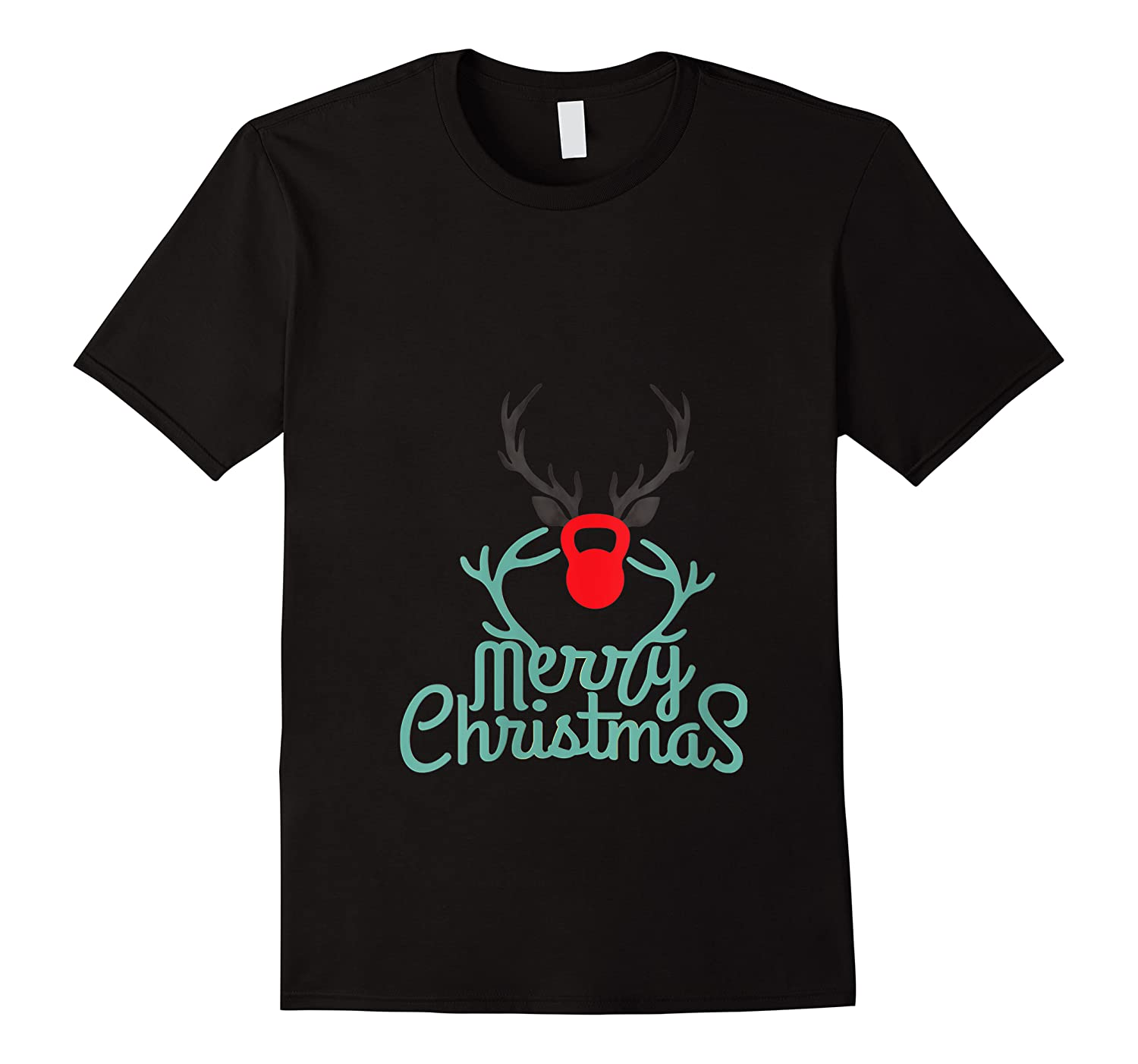 Merry Xmas Antlers Kettlebell Weightlifting Ness Workout Shirts