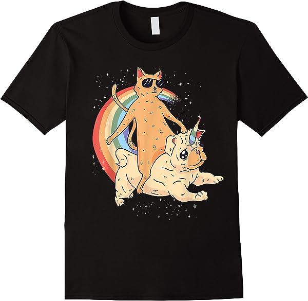 Cat Rides Dog - Funny Kitty Fun Kitten T-shirt