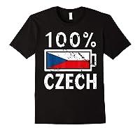 Czech Republic Flag Shirt 100 Czech Battery Power Tee Black