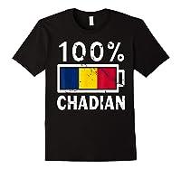 Chad Flag T Shirt 100 Chadian Battery Power Tee Black