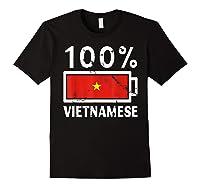 Vietnam Flag T Shirt 100 Vietnamese Battery Power Tee Black