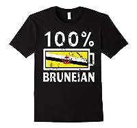 Brunei Flag T Shirt 100 Bruneian Battery Power Tee Black