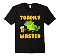 Funny Frog Drink Beer Toadily Wasted Beer Party Gift T Shirt Black