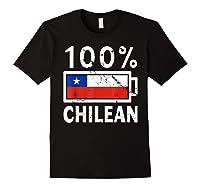 Chile Flag T Shirt 100 Chilean Battery Power Tee Black