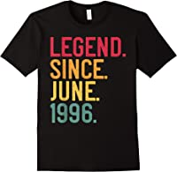 Legend Since June 1996 25th Birthday 25 Years Old Vintage T-shirt Black