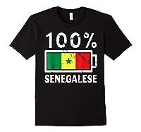 Senegal Flag T Shirt 100 Senegalese Battery Power Black