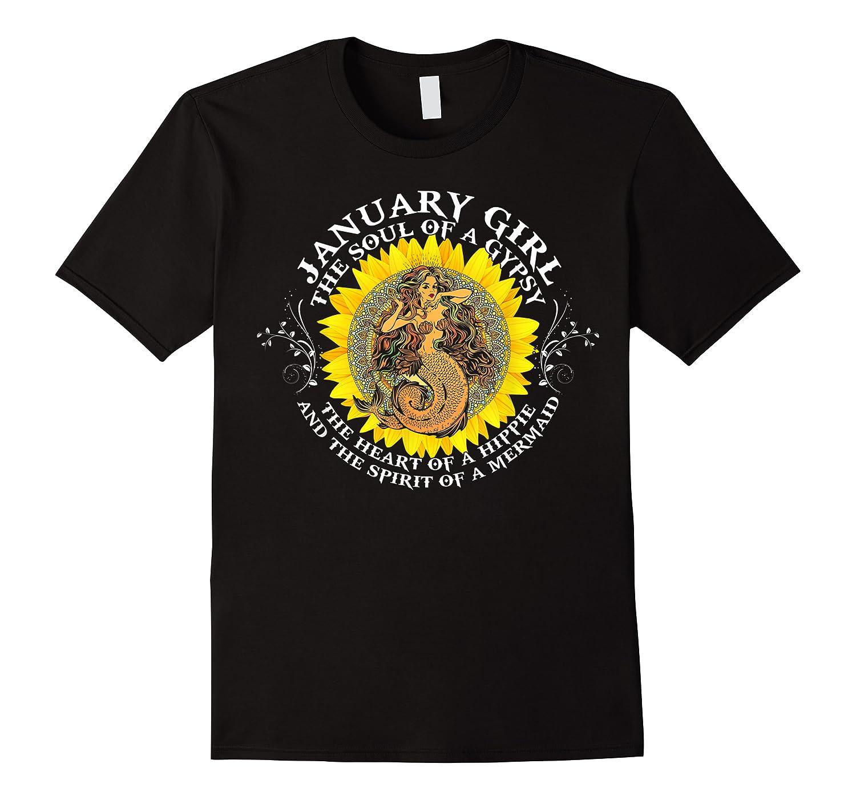 January Girl The Soul Of A Mermaid Tshirt Birthday Gifts