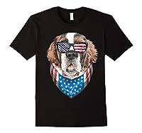 Fourth Of July Bernard American Flag July 4th St Bernard Dog T Shirt Black