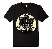 Vintage Scary Halloween Black Cat Witch Hat Moon Pumpkin Bat T Shirt Black