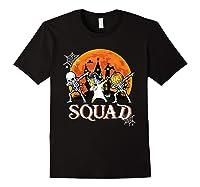 Skeleton Unicorn Pumpkin Dabbing Squad Team Halloween Tshirt Black