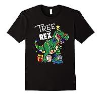 Tree Rex Dinosaur Christmas Gift T Rex Pajamas Xmas Premium T-shirt Black