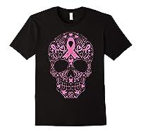 Sugar Skull Pink Ribbon Calavera Breast Cancer Awareness T Shirt Black
