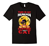 Cat Funny Halloween T-shirt For Girls Adults Black
