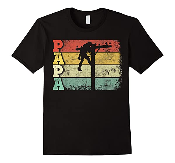 Lineman Papa Shirt Retro Vintage Lineman Dad Father Gift T Shirt