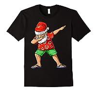 Dabbing Santa Christmas In July Party Hawaiian Santa Beach Shirts Black