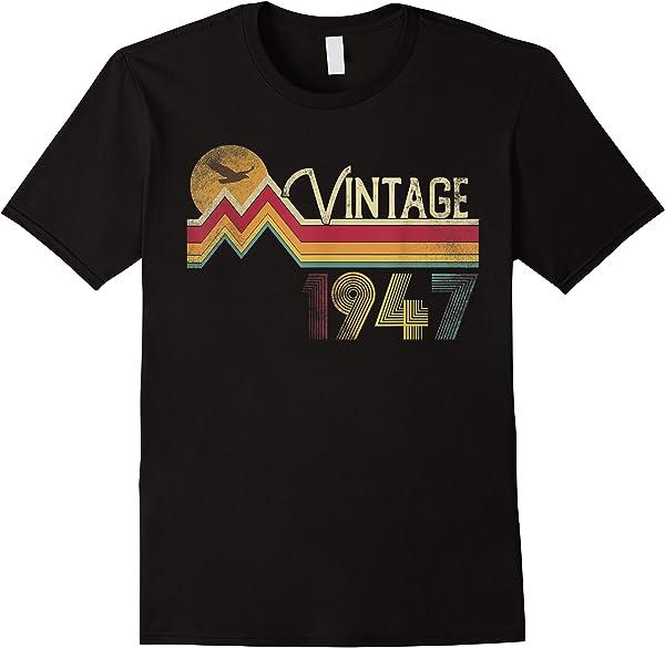74th Birthday Shirt 1947 74 Years Old Vintage Retro Style T-shirt