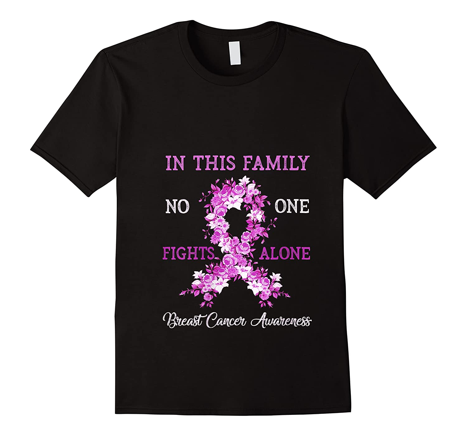 Family Support Breast Cancer Awareness Month Pink Ribbon Tee T Shirt