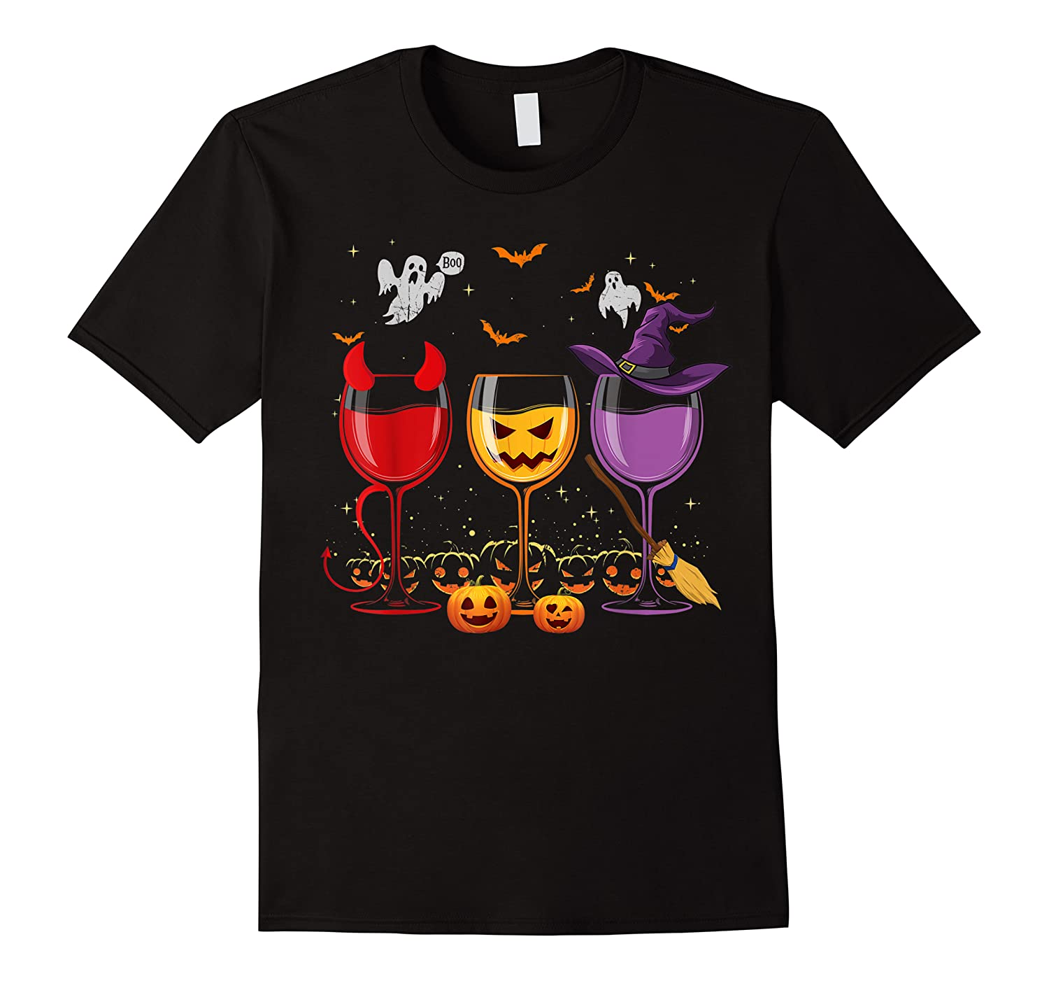 Three Glasses Of Wines Funny Halloween Wine Lover Shirts