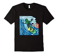 Area-51 Alien Surfing Ocean Wave Lazy Surfer Halloween Gift Tank Top Shirts Black