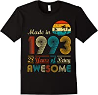 Made In 1993 Vintage Retro 28 Years Old 28th Birthday Gifts T-shirt Black