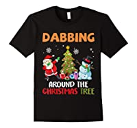 Dabbing Around The Christmas Tree Santa Clause Snowman Ugly T-shirt Black