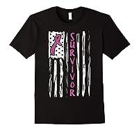 Us Flag Survivor Breast Cancer Awareness Month Pink Ribbon T Shirt Black