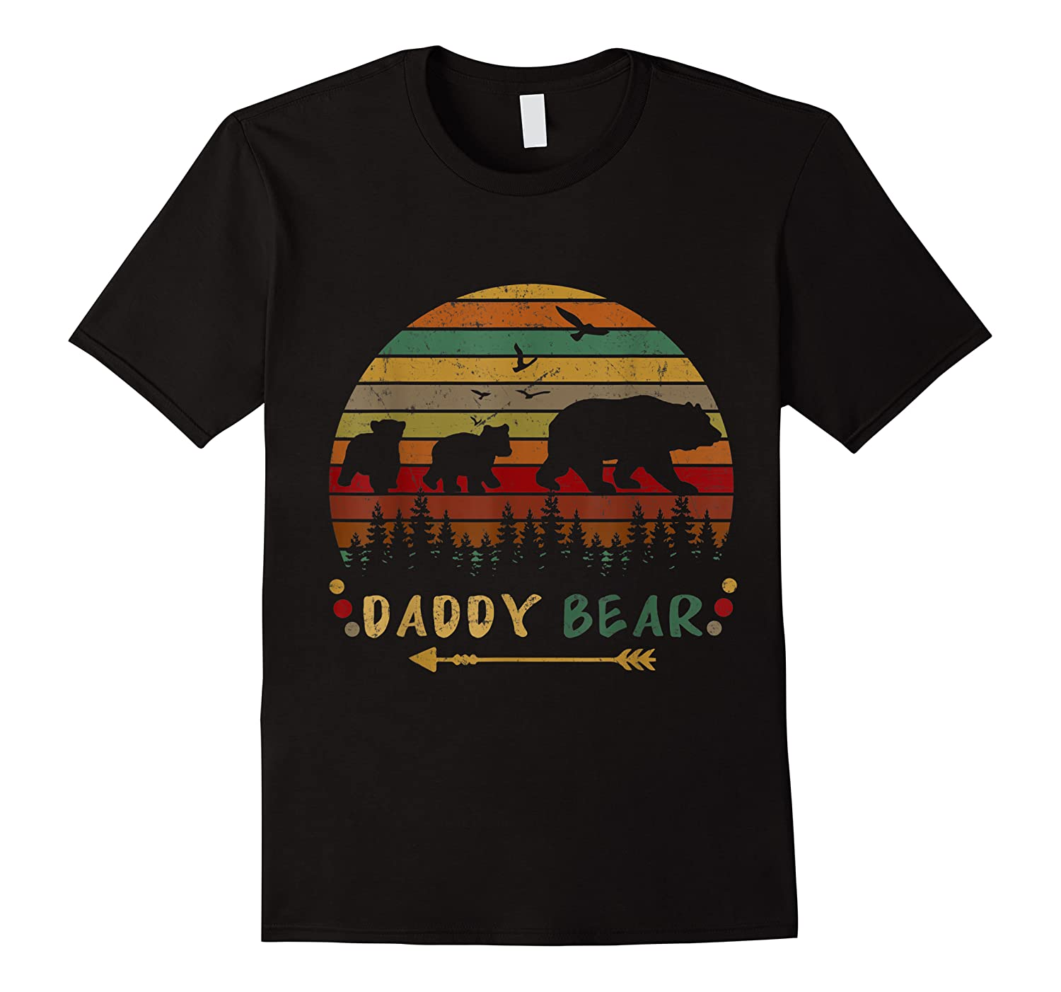 Daddy Bear With Two Cups Retro Gift For Father S Day T Shirt