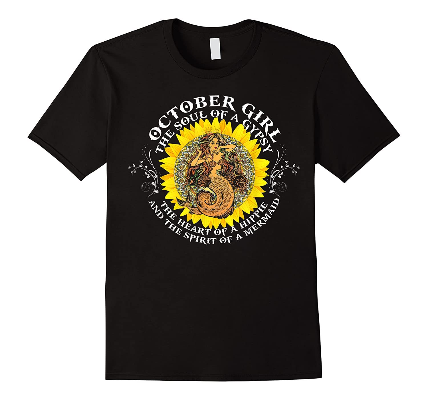 October Girl The Soul Of A Mermaid Tshirt Birthday Gifts