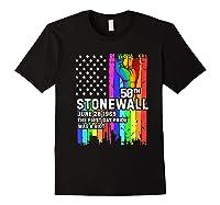 Stonewall Riots 50th Lbgtq Gay Pride American Flag Shirts Black