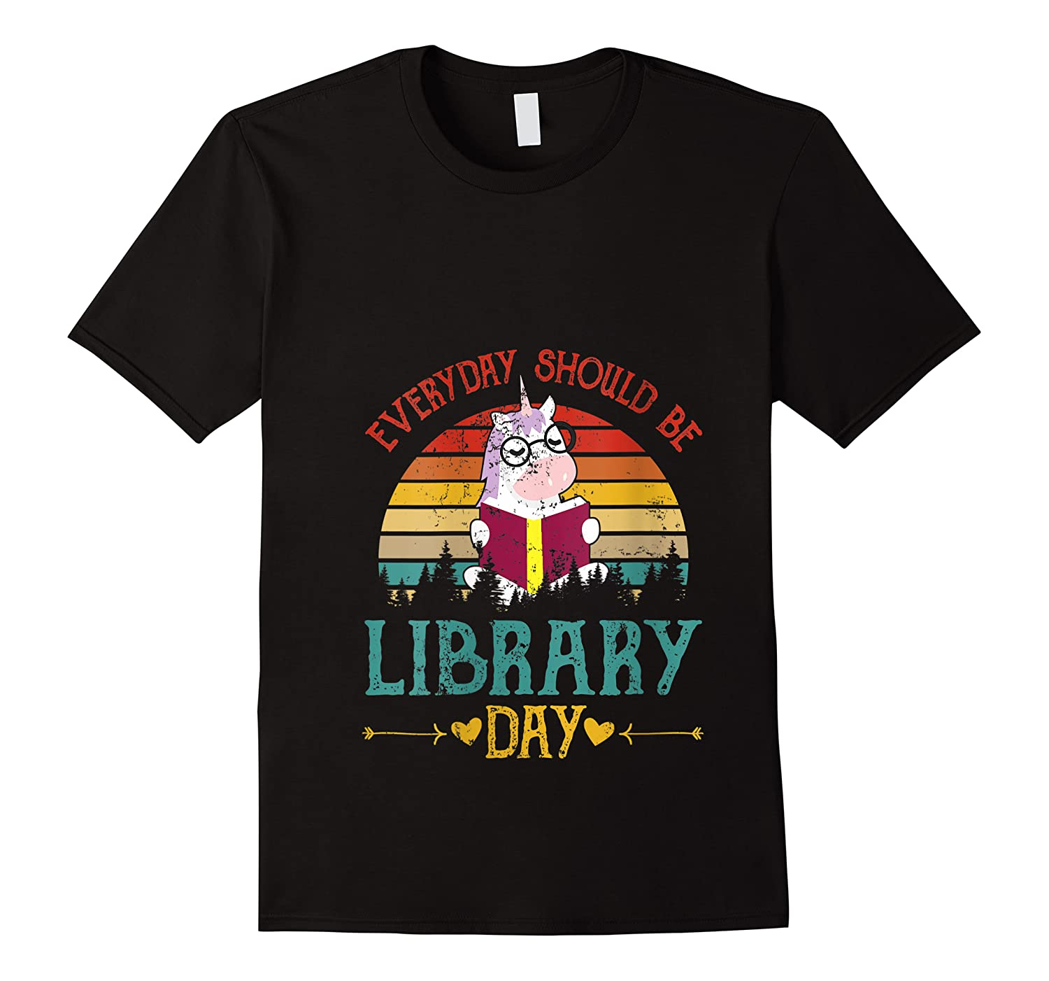 Vintage Everyday Should Be Library Day Unicorn Reading Book T Shirt