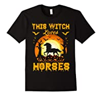 This Witch Loves Horses T-shirt Halloween Cosplay Black