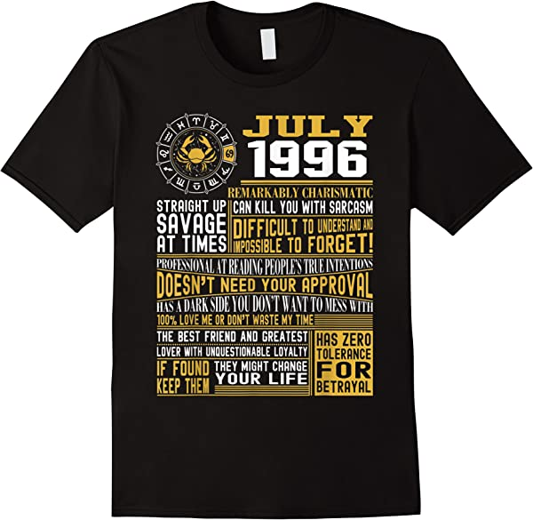 24th Birthday T-shirt, Born In July 1996 Facts T-shirt