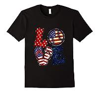 Love Softball Usa Flag 4th Of July Flip Flop Softball Usa Shirts Black