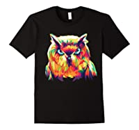 Owl Pop Art Style T Shirt Design Black