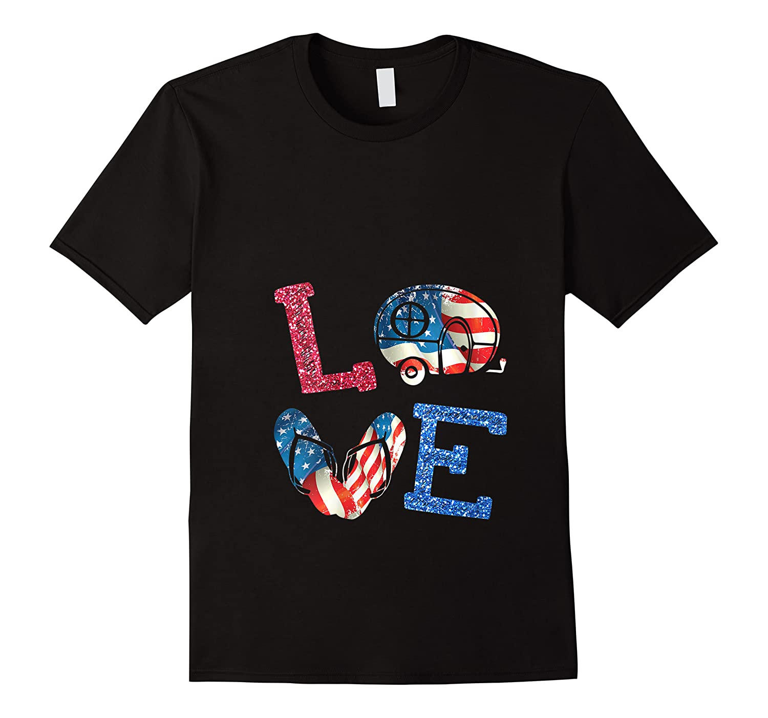 Love Camping Usa Flag 4th Of July Flip Flop Camper Cute Shirts