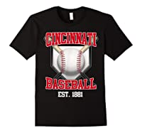 Cincinnati Baseball Retro Vintage Baseball Design Shirts Black