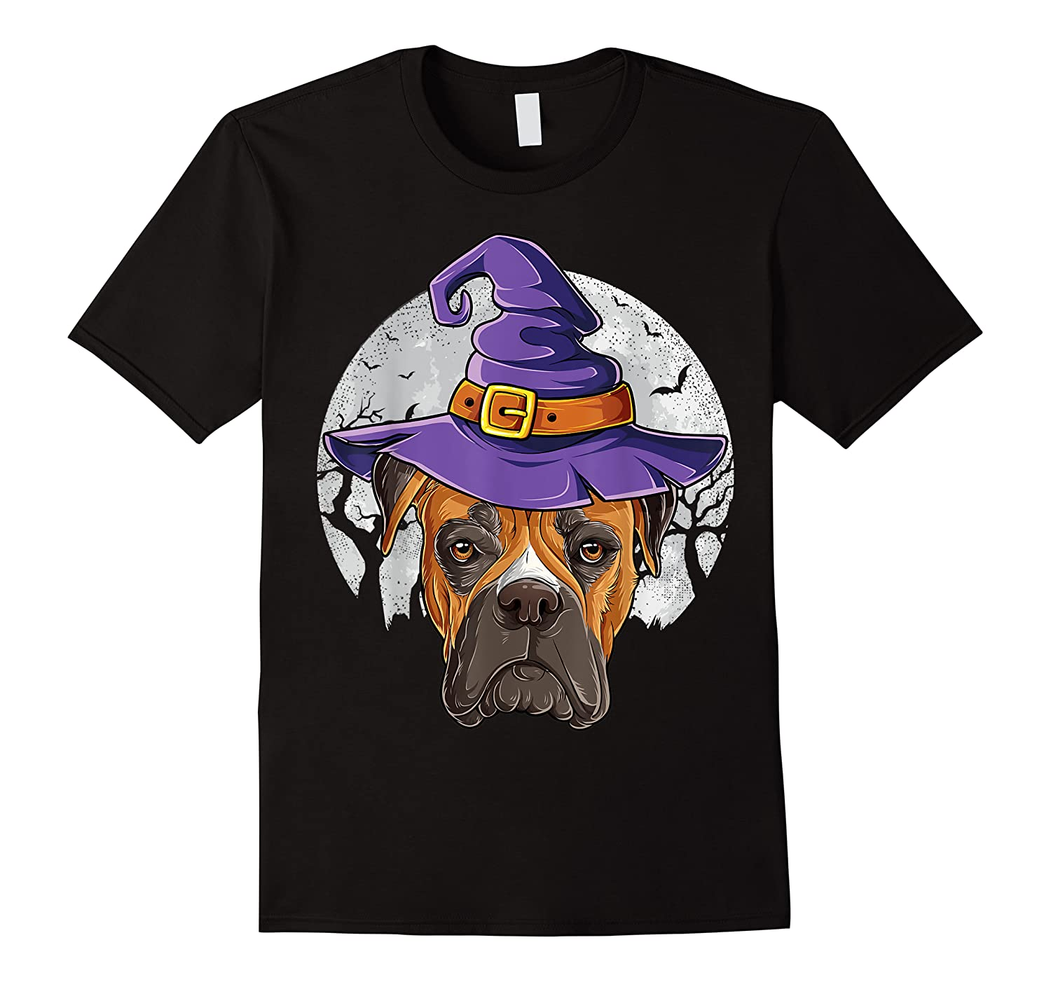 Boxer Witch Hat Funny Halloween Gifts Dog Lover Girls T-shirt