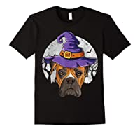 Boxer Witch Hat Funny Halloween Gifts Dog Lover Girls T-shirt Black