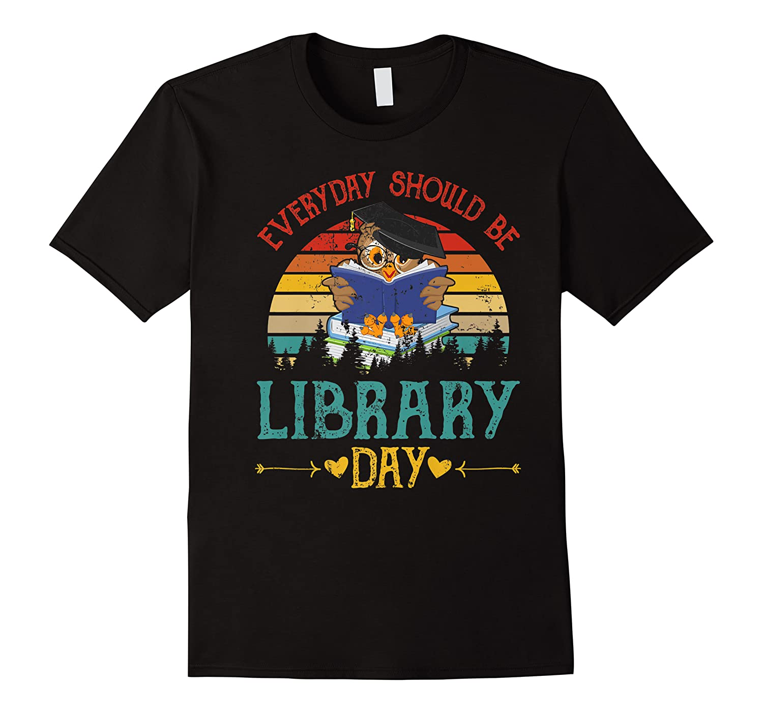 Vintage Everyday Should Be Library Day Owl Reading Book Gift Premium T Shirt