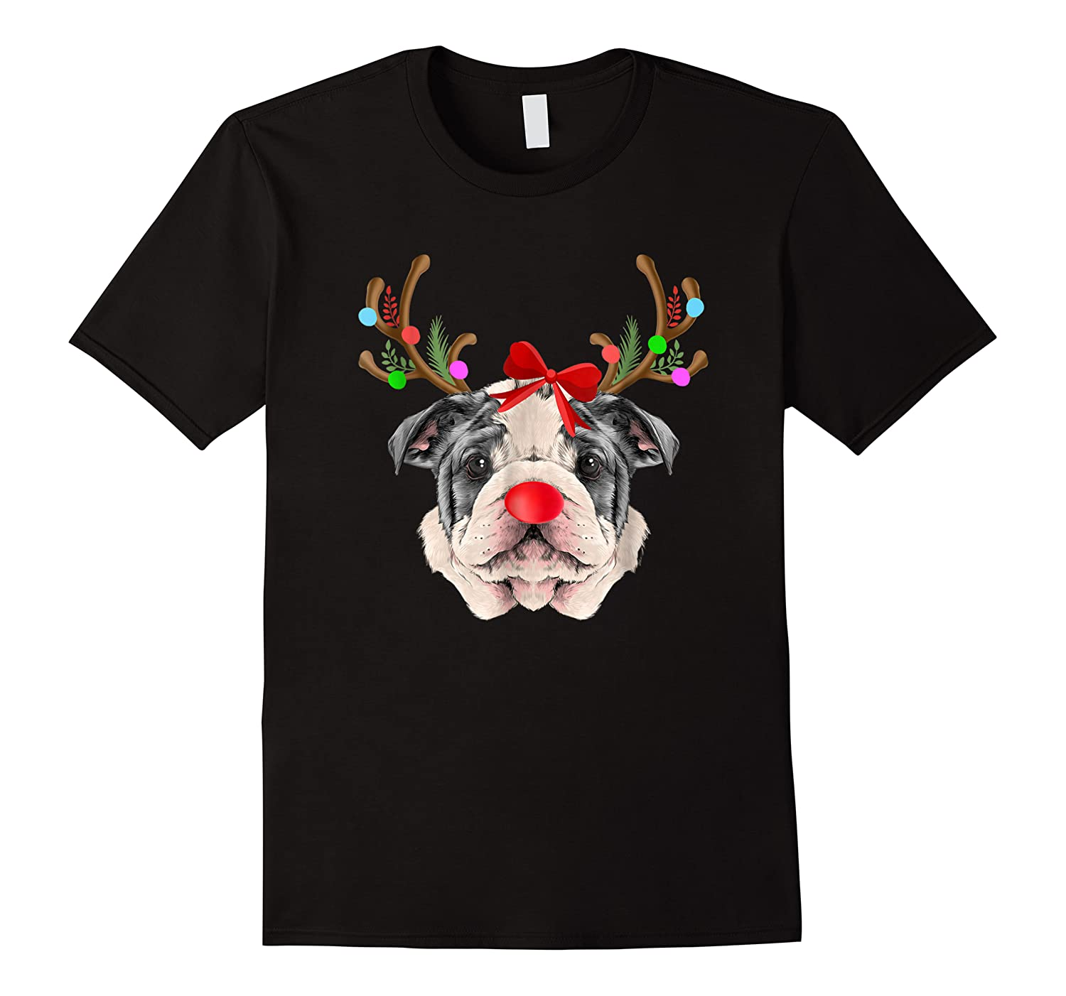 Funny Bulldogs With Antlers Light Christmas Shirts