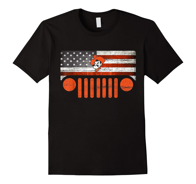 Oklahoma State Cow Nation Flag Apparel T Shirt