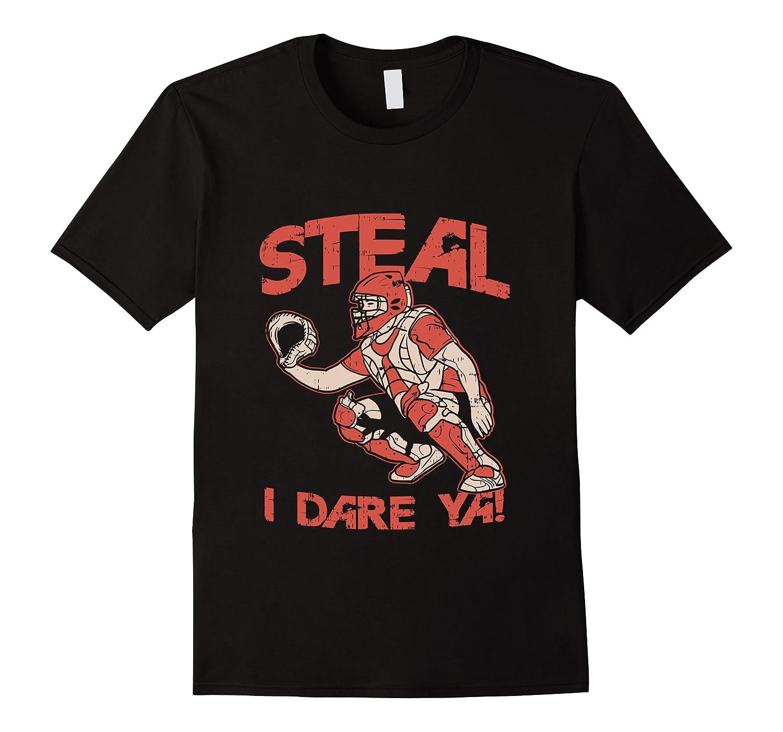 Baseball Cat Gift Steal I Dare Ya T-shirt Men Short Sleeve