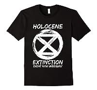 Holocene Mass Extinction Event Symbol Climate Change Science T Shirt Black