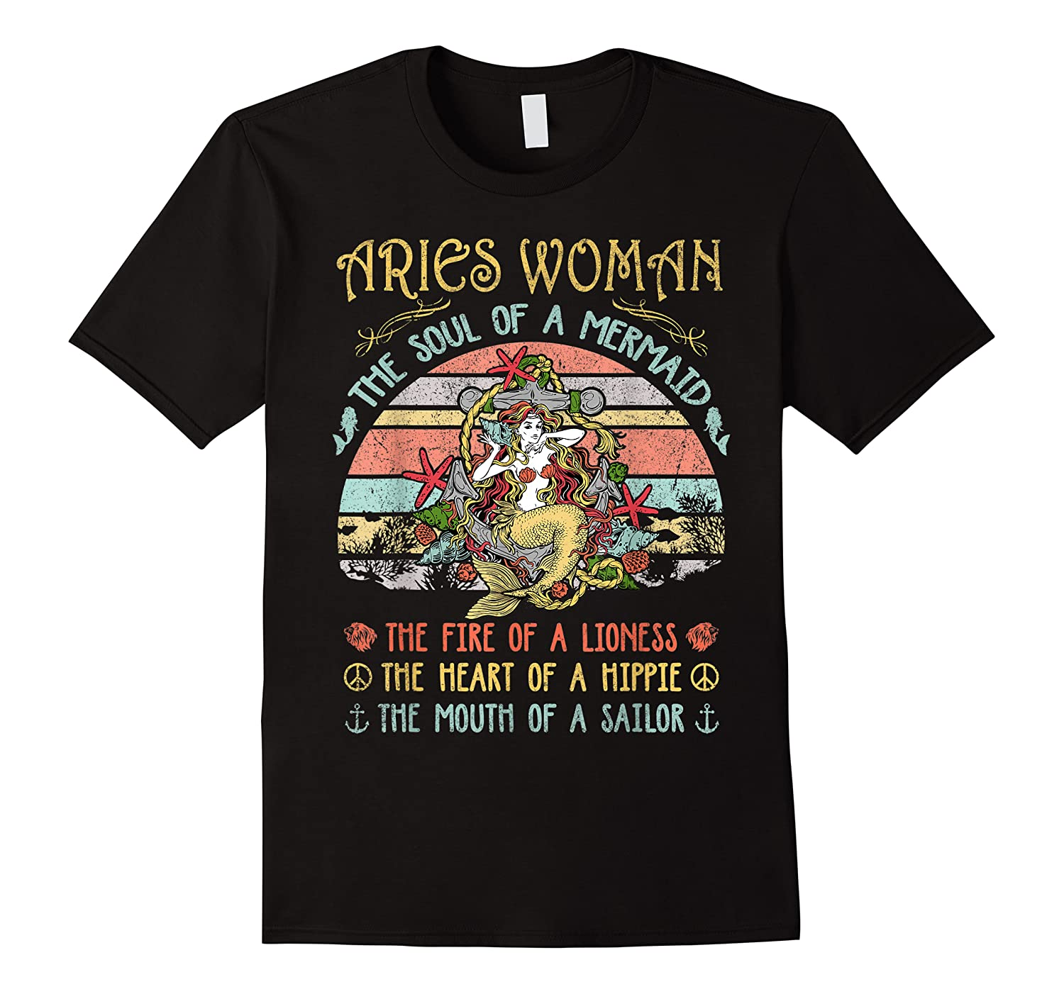 Aries Woman The Soul Of A Mermaid Vintage Mothers Day Shirts
