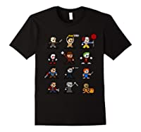 Friends Pixel Halloween Icons Scary Horror Movies Shirts Black