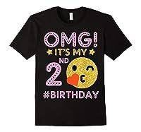 Cute Vintage Retro Emotion Face Omg It's My 2nd Birthday Shirts Black
