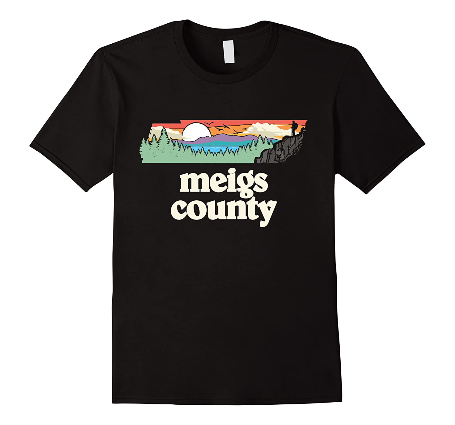 Meigs County Tennessee Outdoors Retro Nature Graphic T Shirt Men Short Sleeve