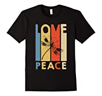 Love Peace Dragonfly Hippie Funny Shirts Black